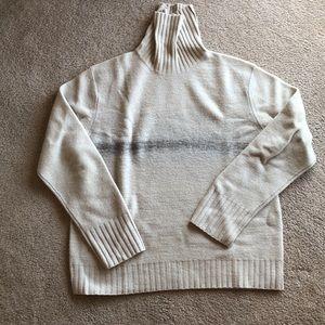 Men's turtleneck sweater in cream with grey stripe